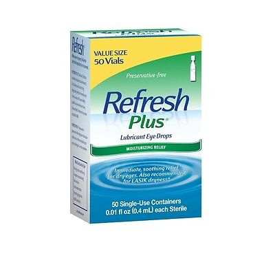 REFRESH PLUS Lubricant Eye Drops Single-Use Containers 50 Each (Pack of