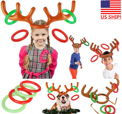 US SHIP Christmas Inflatable Reindeer Hat Antler Ring Toss Xmas Party kids Toy](Reindeer Antler Hat)