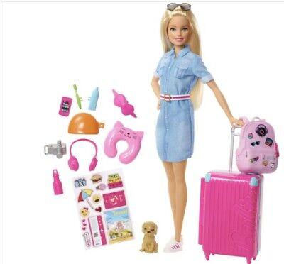 NEW Barbie Travel DREAMHOUSE ADVENTURES FWV25 Doll & Travel Set Girls Toy w/ dog