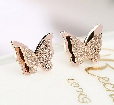 18K GP Rose Gold Titanium Stainless Steel Butterfly Stud Earrings Gift Box PE9