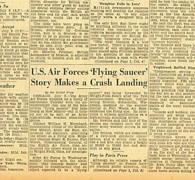 Roswell UFO  a High Altitude Observation device Fort Worth Base July 10 1947 B28