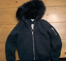 Girls Fur Trim Bomber Coat