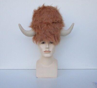 ADULT TAN WATER BUFFALO FURRY LODGE COSTUME HAT WITH HORNS VIKING WARRIOR BULL (Halloween Costume Bull Horns)