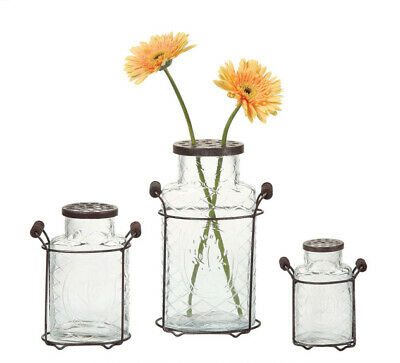 Vases Bulk (Milk Bottle Vases Set 2 Frog Lids Vintage Style Pair Farmhouse Enigma)
