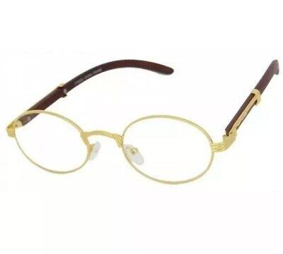 Men's Womens Round Eye Glasses Quavo Bad and Boujee Hip Hop Dark Brown Wood (Brown Round Glasses)