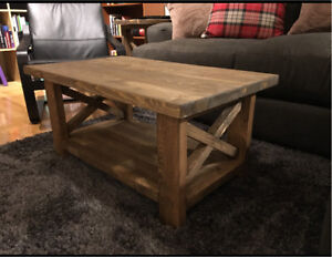 Brown farm house coffee table set