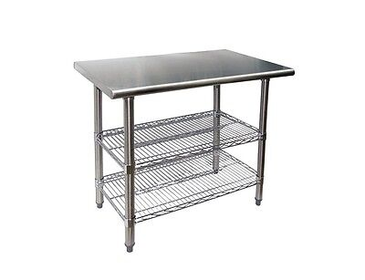 Stainless Steel Work Table 24 X 36 With 2 Chrome Wire Undershelf - Nsf