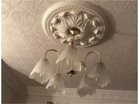 chandelier and wall lights