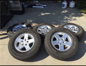 """17"""" Jeep rims and 255/75r17 goodyear wrangler sr-a"""