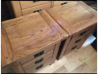 Rustic solid oak bedside cabinets great condition