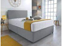 🟡⭐ Plain Divan Complete Beds - Divan Base and Plain Headboard with Mattress 🟡⭐