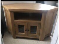 Solid oak corner tv unit with glass doors house furniture