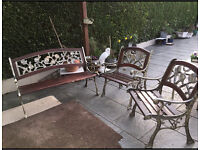 Garden Bench and Pair Of Matching Chairs 'Rambling Rose' Cast iron.