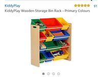 Wooden storage bin rack