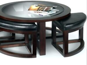Beautiful Coffee Table with 2 Built-in Stools for Sale.