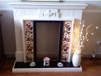 Shabby chic cream country cottage Victorian fireplace fire surround