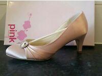 Pink by Paradox London, Harmony Blush (Pale Pink) Satin Bridesmaid Shoes (Size 5)