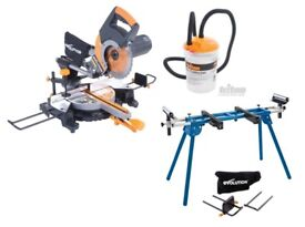 NEW - RAGE3-DB 255mm TCT D/Bevel Sliding Mitre Saw/Stand/Dust-Collecter bin