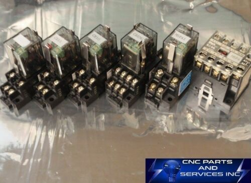 FUJI ELECTRIC 250V CUBE RELAYS WITH BASE, MAGNETIC CONTACTOR SJ-0G (SET OF 6)