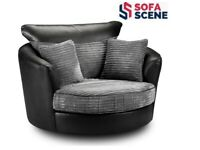 ✅BRAND NEW BLACK SWIVEL CHAIR IN LEATHER & CORD FABRIC✅