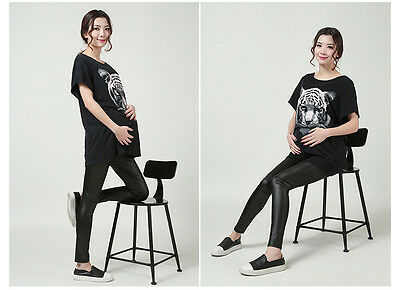 Adjustable Maternity Leggings Pregnant black leather Elastic pants women fashion