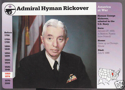 Admiral Hyman Rickover U S  Navy Photo Bio 1995 Grolier Story Of America Card