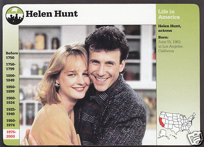 HELEN HUNT Actress Movie TV Star Paul Reiser Mad About You GROLIER STORY CARD