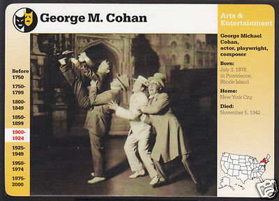 George M  Cohan Actor Playwright Photo Bio Grolier Story Of America Card