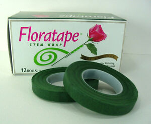 "Professional Florist 2 Rolls Dark Green Floral Tape 1/2"" Wedding Corsages"