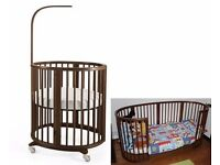 Stokke cot + bed (baby to 8 yrs) in Walnut: Sleepi Mini + Midi + Junior + mattresses + fitted sheets