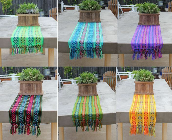 """Mexican Rebozo Serape Aztec Table Runner 80"""" by 14"""".  Choose"""