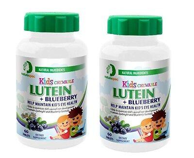 2 Bottle Nature Spec Kids Chewable Lutein eye supplement blueberry Zinc Vitamins