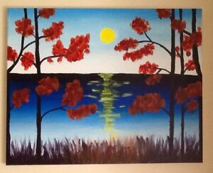 PAINTINGS $10-$70 also NUMBERED PRINT, FRAME SUN SETTING OVER L
