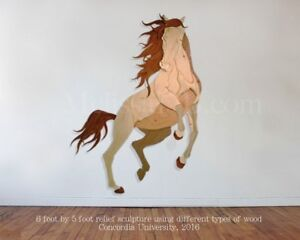 Huge Running Horse Relief Wood Sculpture - Cheval Art