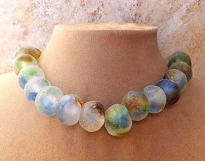 RECYCLED GLASS FROSTED NECKLACE MATTE GEMS SWIRL BLUE GREEN BROWN EARTH BEADS