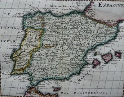 SPANIEN ESPAÑA BALEAREN MALLORCA IBIZA PORTUGAL KUPFERSTICH KARTE BOSSUET 1722