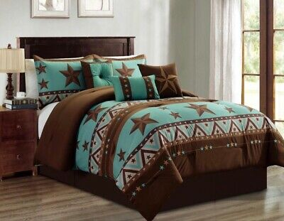 Western Pattern Turquoise Rustic Brown Star Comforter Set - 7 Piece Set