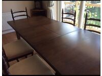 Wooden solid extendable dining table and 6 chairs (2 carvers)