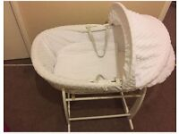 Clair De Lune white wicker baby moses basket and stand