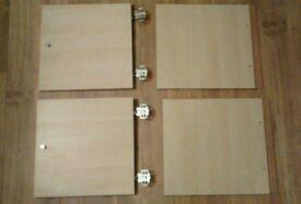 2 Ikea Kallax inserts with doors, birch effect