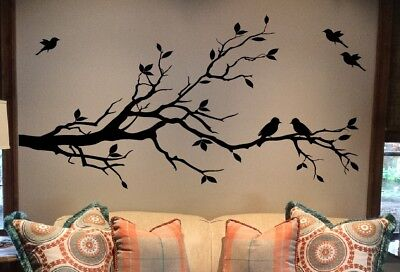 Large Tree Branch Wall Decal Deco Art Sticker Mural with 10 Birds (Deco Decal)