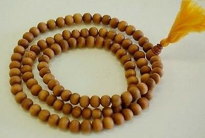 8mm Pure Fragrant Sandalwood Buddhist Mala 108 Prayer Beads Necklace W Tassel