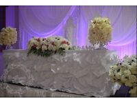 Luxury Wedding Event Decorations include Wedding Stage, Centrepiece, Glass Beaded Charger Plate etc