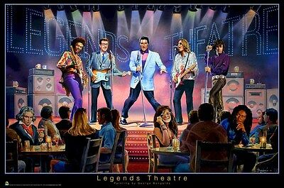 George Bungarda   Legends Theatre   24X36 Poster Elvis Jimi Hendrix John Lennon