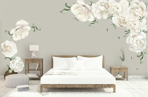Home Decoration - White Peony Rose Flowers Blossom Kid Wall Sticker Home Nursery Decor Baby Decal