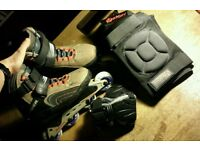 UK Size 6 Bauer Inline Skates, Rollerblades with Anarchy Knee, Elbow, Wrist Guards Pads