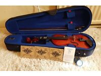 Stentor 1 1/2 size student violin vgc with spare strings, case and rosin