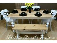 Lovely Pine dining table with chairs and benches