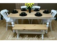 Lovely Pine Farmhouse Dining Table with chairs and a bench