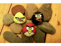 Angry Bird painted pebbles